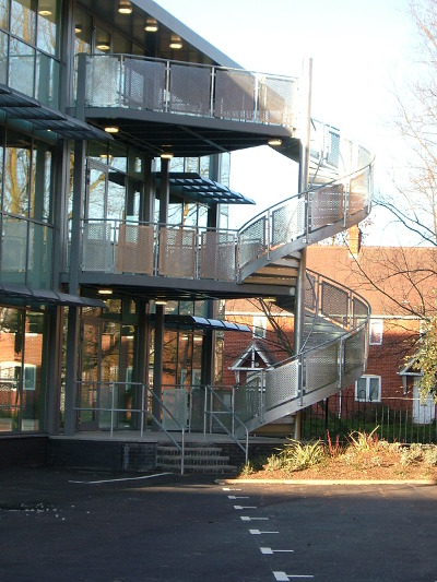 Fire escape stair case with extended landing at the Square Colchester