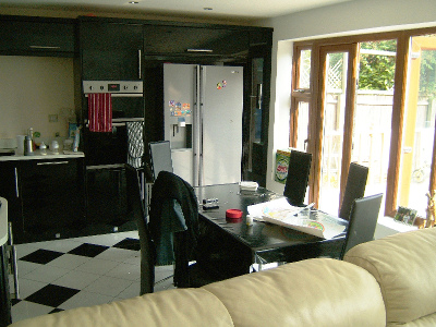 Inside view of kitchen in extended bungalow, Cambridge Road, Great Shelford